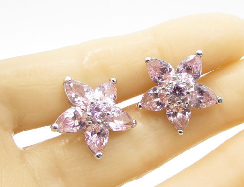 Primary image for 925 Sterling Silver - Faceted Pink Topaz Spring Flower Stud Earrings - E1173