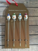 Christmas All Snowman Glass Cocktail Picks Hors D'oeuvre Appetizer Chees... - $19.68