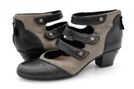 Earth Womens 9.5B Black Gray Serano Leather Triple Strap Zip Heeled Booties - $37.99