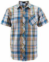 Men's Plaid Checkered Button Down Short Sleeve Regular Fit Dress Shirt - M