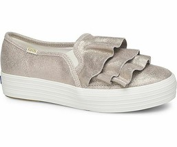 Keds WH58506  Women's Triple Ruffle Glitter Suede Champagne shoe, 10 Med - $49.45