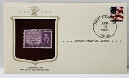 Joseph Pulitzer Historic Stamp 2003 New York NY - $6.78