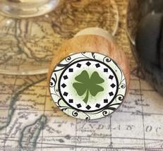 Wine Stopper, Four Leaf Clover Handmade Wood Bottle Stopper, St. Patrick... - $8.86