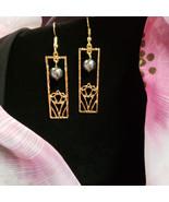 Rectangle Honu Pearl earrings - $20.00