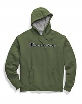 Champion Powerblend Applique Olive Green Pullover Hoodie Sweatshirt Adul... - $44.54