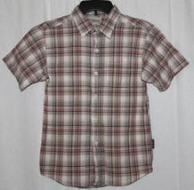 Carters Watch the Wear Black Red White Plaid Short Sleeve Button Front Shirt S 8 - $4.00