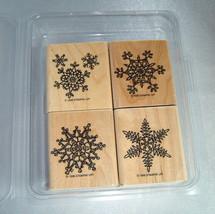 Lot (4) Stampin' Up! Wood Block Snowflake Stamps (1998) Scrapbooking Supplies - $9.70