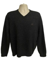 Ralph Lauren Polo Black Heather Lambswool Pullover V-Neck Sweater Large ... - $74.24
