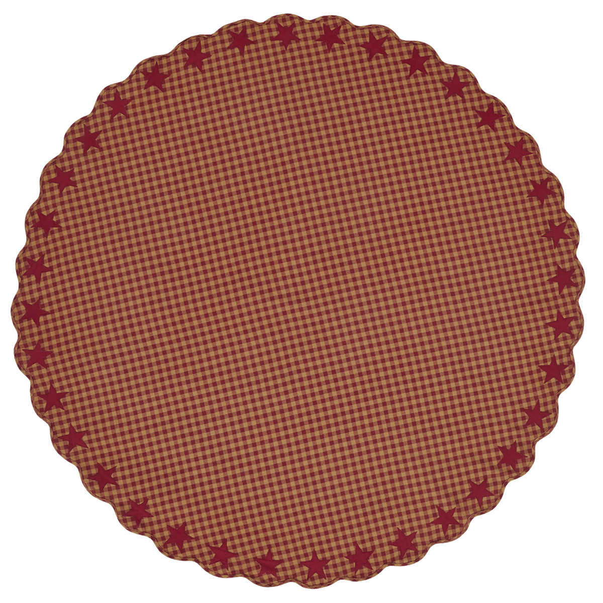 "BURGUNDY Star Scalloped Table Cloth - 70"" Round - Burgundy/Dark Tan - VHC Brands"