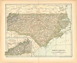 Original 1903 Antique Map Population Table North Carolina Dodd Mead & Co... - $26.48