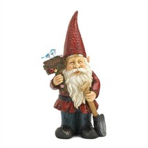 Birdie on Welcome Sign Standing Gnome Solar Statue - $40.97