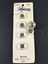 """Lansing Clear Buttons Sz 36 (7/8"""") 8 on Card Shank Buttons Vintage - $4.21"""