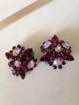 Vintage Fuchsia Crystal Aurora Borealis Bead Cluster Fashion Clip On Ear... - $45.00