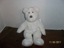 ty beanie buddies classic white angel teddy bear plush with blue wings 1... - $4.99