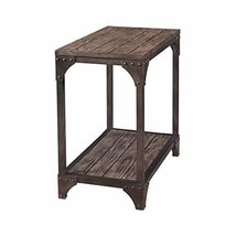 Industrial Modern Reclaimed Wood Accent End Side Table with Lower Shelf ... - €151,59 EUR