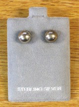 Sterling Silver Vintage 8mm Women's Ball Spheres Post Earrings w Suede Puff Pad - $17.10