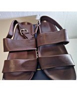 Brooks Brothers, Double Strap Leather Sandals, Size 11, Dark Brown - $141.31
