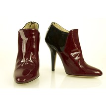 Jimmy Choo Bicolor Black & Bordeaux Patent Leather Ankle Booties Boots size 38 - $256.41