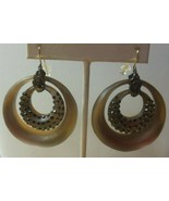 Vintage Signed Alexis Bittar Large Lucite/Rhinestone Round Hook Earrings - $185.00