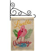Lovable Flamingo Burlap - Impressions Decorative Metal Fansy Wall Bracket Garden - $33.97