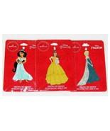 Hallmark Disney Princess Flat Metal Ornaments Set of 3 Jasmine Bell Elsa NEW - $34.98