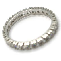 18K WHITE GOLD ETERNITY BAND RING, WHITE CUBIC ZIRCONIA, THICKNESS 3 MM image 4