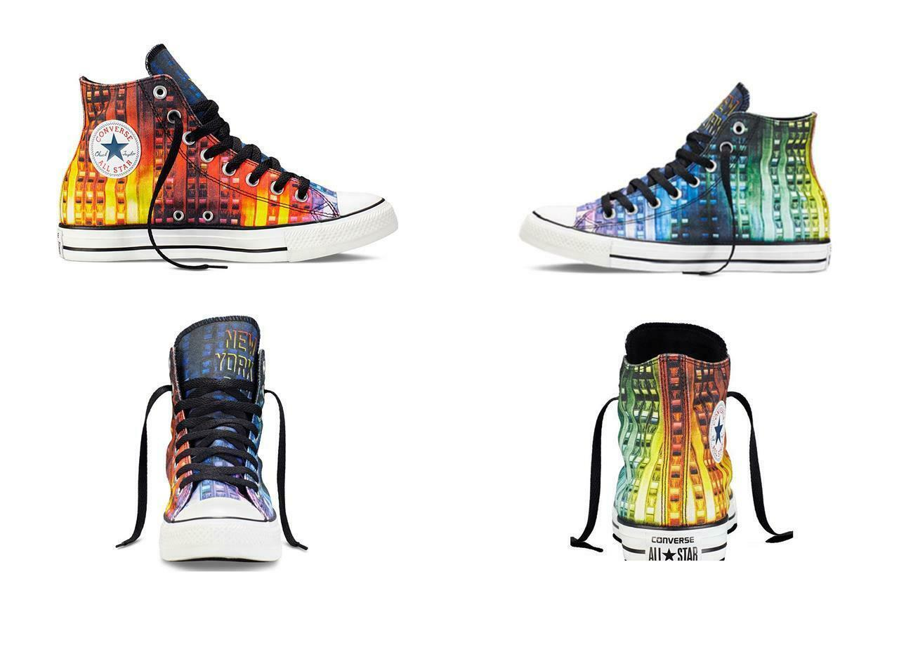 Converse NEW YORK Gay Pride LGBT Colorful Stripes Hightop Shoes Unisex HTF DISC