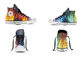Converse NEW YORK Gay Pride LGBT Colorful Stripes Hightop Shoes Unisex H... - $119.99