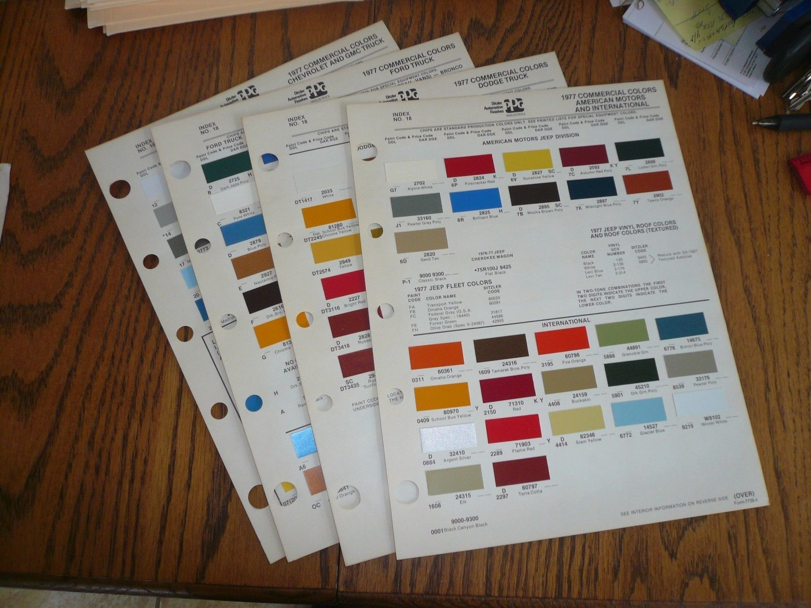 1977 Ford Chevy Gmc Dodge Amc Jeep Internl And 50 Similar Items 1964 Color Chips Commercial Ditzler Ppg Paint
