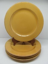 """Pier1 Toscana Gold Earthenware 11"""" Dinner Plate Set Of 4 Plates Has Some Crazing - $57.82"""