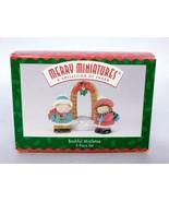Hallmark Merry Miniatures Christmas Bashful Mistletoe 3 Piece Set 1996 - $12.00