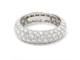 Tiffany & Co Platino Etoile Tre 4 File Pavé di Diamanti Fedina Size 5.5 - $10,297.53