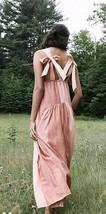 Free People Joyel Midi Striped Strappy Tie Dress XS Pink Rose - $92.57