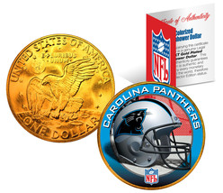 CAROLINA PANTHERS NFL 24K Gold Plated IKE Dollar US Coin * OFFICIALLY LI... - $9.85
