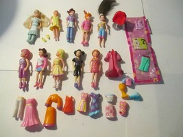"Lot 10 Polly Pocket Dolls & Clothes Approx. 3 1/2"" tall - $9.89"