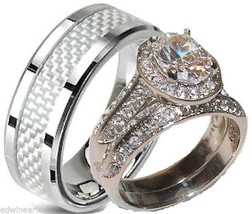 His and Hers Wedding Rings Halo Cz Matching Wedding Ring Set Stainless Steel - $39.99