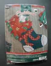 NEW! Bucilla Gorgeous Christmas Stocking Kit 86705 Poinsettias, Bow, Sequins, Gl - $27.95