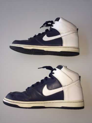 Nike Dunk High 2006 309432-411 VP Navy Blue White Leather Size 11 Euro 45 UK 10