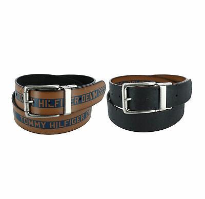 Tommy Hilfiger Men's Premium Logo 38MM Reversible Belt Tan/Black 11TL02XZ47