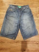 Rocawear Men's Blue Denim Jeans Shorts Size 34 Green Embroidered Pocket - $21.06
