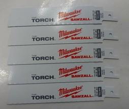 "Milwaukee 48-00-5784 6"" x 18 TPI Torch Super Sawzall Blades 5pcs. USA - $8.42"