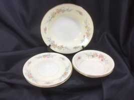 5 Homer Laughlin Eggshell Nautilus Ferndale Gold Trim Bowls And Plates 1... - $24.75