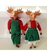 Reindeer Ornaments Set Handmade Mr Mrs Christmas Wedding Gift Rare VTG NOS - $48.49
