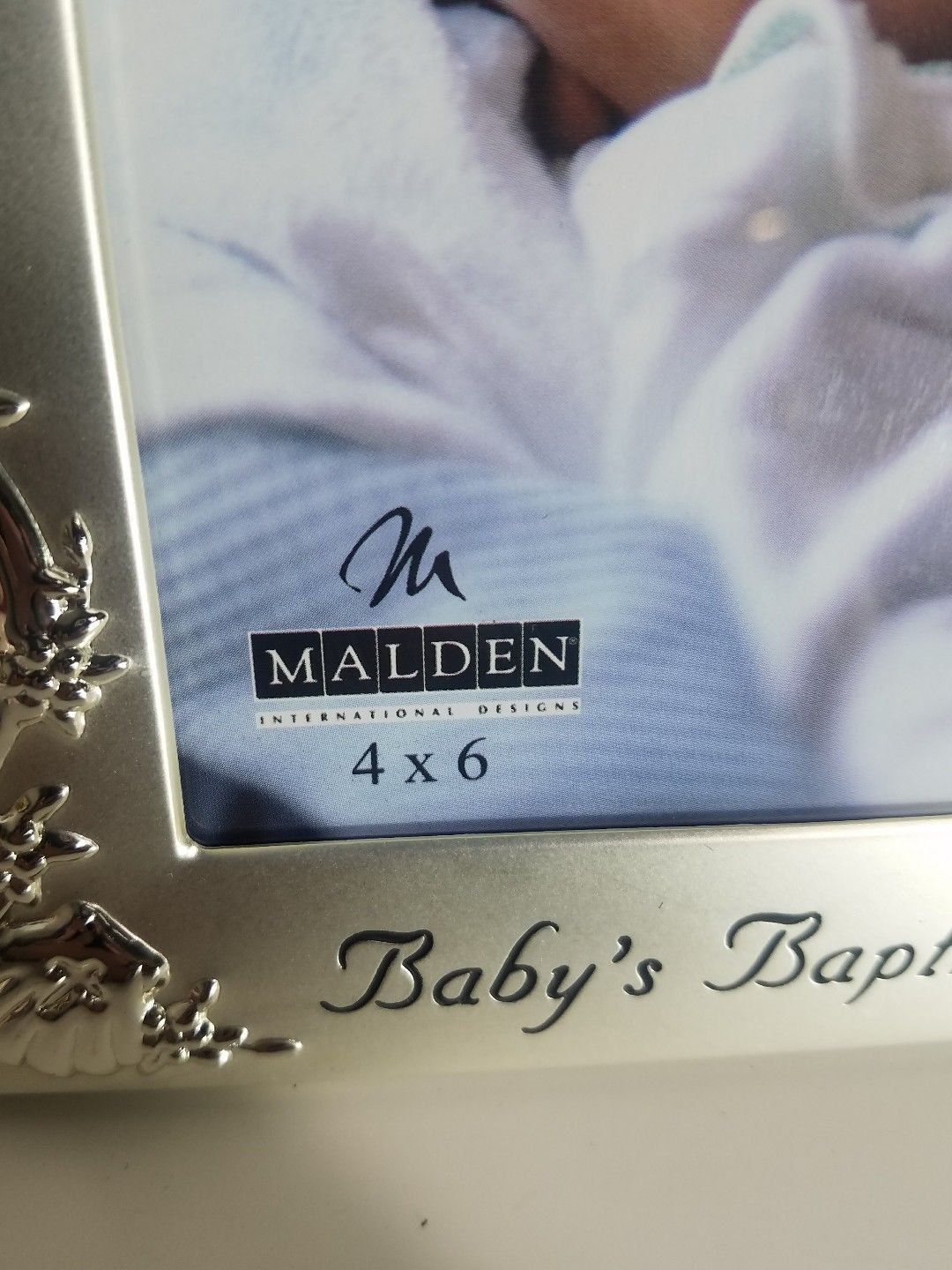 "MALDEN INTERNATIONAL BABY'S BAPTISM ENGRAVED SILVER 4' X 6"" PHOTO FRAME 6901-46"