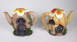 Mini Pumpkin Tea Pot Gnome Fairy Houses LED Lighted Set of 2 - $21.73