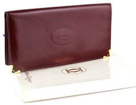 Authentic CARTIER Paris logos Bordeaux Leather Bi-fold Long Wallet Purse... - $127.71