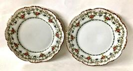 "Pair of J. Pouyat Plates, Limoge, France, 7.5"" Diameter, Floral, Gold Tr... - $54.97"