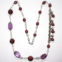 Necklace Silver 925, Fluorite Oval Faceted Purple, Length 80 CM image 2