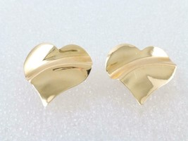 14K Yellow GOLD Curved HEART EARRINGS - FREE SHIPPING - $90.00