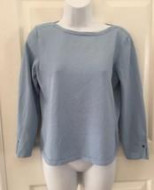 Talbots Women Pullover Top Small Light Blue Long Sleeve Shirt Rayon Blend Blouse - $15.85